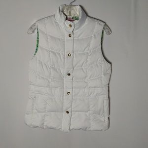 Lilly Pulitzer KATE Puffer Vest White Down Size Sm